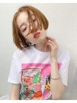 ロッジ 原宿店(RODGE)ミニボブ × オレンジカラー 【担当 畑中】小顔 ブランジュ