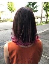 ハフ(HAFU)ピンク裾カラー