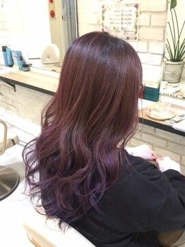 ブレッザヘアー(Brezza hair)パープル系バレイヤージュ×Brezza hair 笹塚