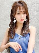 韓国風大人かわいい小顔似合わせふんわりセミロング20代30代40代