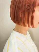 テトヘアー(teto hair)コーラルオレンジ・ボブ・切りっぱなし・ワンレン・ブリーチ