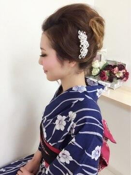 夜会巻きヘアアレンジ結婚式髪型 ☆夜会巻き風アップ