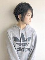 ラトリエコンタン(L´atelier Content)黒髪ショートボブ×アシメバング