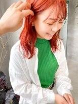 テトヘアー(teto hair)コーラルピンクカラーコーラルオレンジカラーボブ
