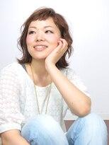 ヘアメイクエシェル 野々市店(Hair Make e‐shell)オン眉バングの外ハネミディアム☆