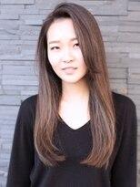 ヘアーデザイン スロープ 稲毛海岸店(Hair Design Slope)かきあげ前髪×ストレートロング