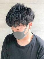 銀座マツナガ 浅草店カジュアルくせ毛風パーマナチュラルアッシュブラック