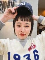 テトヘアー(teto hair)ミニボブ ・ショートバング・オン眉・ぱっつん・黒髪・キャップ