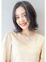 ヘアサロンガリカアオヤマ(hair salon Gallica aoyama)☆ ネイビーグレージュ & 無造作 ☆ノームコア 外ハネ BOB ☆