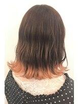 ヘアーアイスカルテット(HAIR ICI QUARTET)裾カラー オレンジ 切りっぱなしボブ