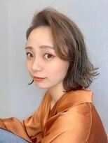 エイム ヘアメイク 横川店(eim HAIR MAKE)ハイベージュ×切りっぱなしボブ