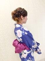 浴衣着付け&ヘアセット サイド編み込みシニヨンスタイル