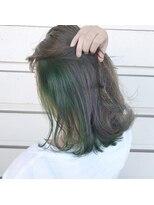 ルッツ(Lutz. hair design)シルバー×グリーンインナー