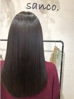 """サンコ(sanco.)の写真/美髪に導くsanco.オリジナル《髪質改善》""""広がる、パサつく、ツヤがない""""等のお悩みを解消し理想の髪に…*"""