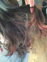 ビヨンド(beyond)裾カラーチェリーピンク+インナーグレー