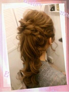 編み込みポニーテールヘアアレンジ(結婚式の髪型) リッコ Hair & Make RiccoRicco リッコ 愛されポニーテール