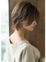 【LE】オリーブグレージュかきあげ前髪ウルフパーマ