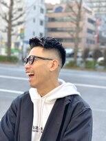 オムヘアーフォー(HOMME HAIR 4)黒髪 アップバング ワイルド フェードカット オムヘアー4
