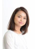 きれい髪美容所グレーカバーカラー+ミディアムストレートヘア