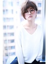 グレージュ小顔ショートバングアシンメトリー【Cloud zero】