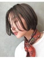 キッカケ アットデプス(KIKKAKE@Depth)伸ばしかけの髪にヌーディーカラー+前下がりボブで小顔ヘアに