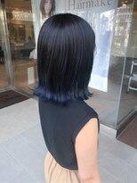 ヘアメイク シュシュ(Hair make chou chou)ブルーグラデーション切りっぱなしボブ【chou-chou 北林夏実】