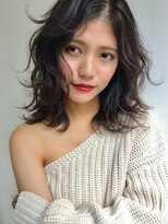 ギフヘアー 梅田茶屋町店(gif.hair)★ゆるふわミディ×センターパート×ラフウェーブ