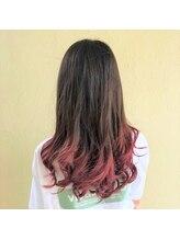 キャパジャストヘアー(CAPA just hair)ミディアムヘア×ピンクグラデーションカラー