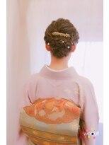 訪問着の大人編み込みヘア