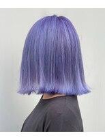 派手髪 ロブ ラベンダー ピンク 紫 ハイライト 外人風カラー