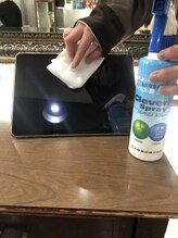 お客様毎のセット面、iPadなどの除菌