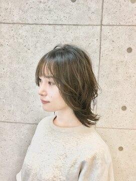 ヘアーデザイン ハック(HAIR Design HaC)【HaC】 レイヤーウルフ×ヌーディベージュ