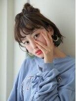 ショコラウメダ(Chocolat UMEDA)モテ愛され★ラフニュアンス★お団子ミディアムアレンジボブ