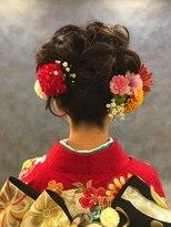 美容室ベーセ ベーゼ 和光本店(B C B G)生花を使った成人式アップヘア