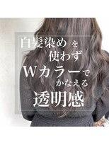 スーベニール(souvenir)脱白髪染め/ブリーチ1回/濃紺アッシュ/白髪もカバーできる透明感