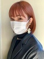 ヘアー アイス ルーチェ(HAIR ICI LUCE)ブリーチ☆オレンジカラー オレンジベージュ ボブ 担当 城倉