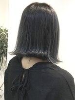 フレイムスヘアデザイン(FRAMES hair design)切りっぱなし外ハネボブ×ブルーグレージュ×ハイライト