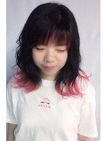 前髪インナーピンク×毛先だけピンク