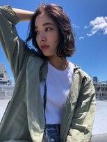 【デパール】丸みショート無造作カールボブディデザインカラー