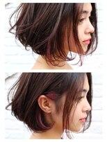 【jako】ピンクインナーカラー切りっぱなしボブ3Dカラー モード