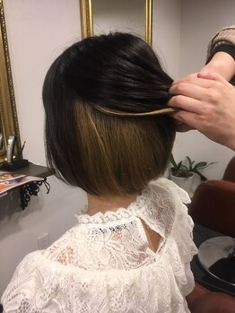 アローヘアーサロン(arrow.hair salon)の写真/オーガニックカラーを使用しているのでダメージレス☆においがきつくなく染みにくいカラーです♪