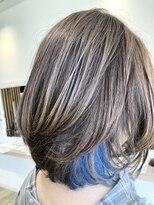 #インナーカラー#ブルー#ダブルブリーチ#白髪染め#カラー