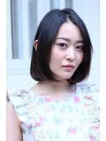 【coma中野】ストレートパーマで作る黒髪フェミニンボブ