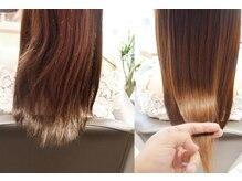 髪質改善【プリンセスケアトリートメント】と、髪質改善【プリンセスケア癖毛用】の2種類。潤い艶髪へ