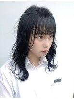ドォート(Dote hair make)【林's】薄めぱっつん前髪 巻き髪ツヤ感セミロング