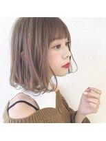 ピンクカラーのワンカール前髪小顔ボブ【MISA】新宿