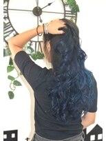 ヘアーサロン エール 原宿(hair salon ailes)(ailes 原宿)style392ブルーグラデーション☆フェザーロング