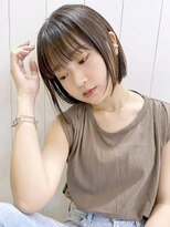 アルバム シンジュク(ALBUM SHINJUKU)ストレートボブ_カーキグレージュマッシュショート_98118