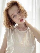 ロッジ 原宿店(RODGE)【nana】柔らかベージュ ワンレン ボブ ケアブリーチ 髪質改善