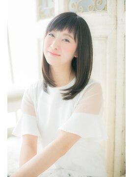 """アッシュタカサキ(ash takasaki)*+高崎+*…黒髪&ベビーバングの""""重軽""""セミディd"""